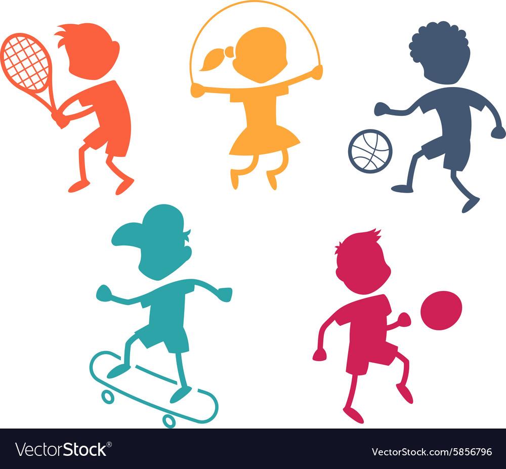 Cartoon sport icons vector image