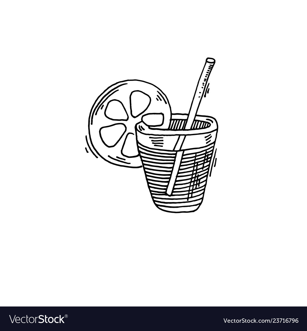 Cocktail with lemon slice sketch drawing icon