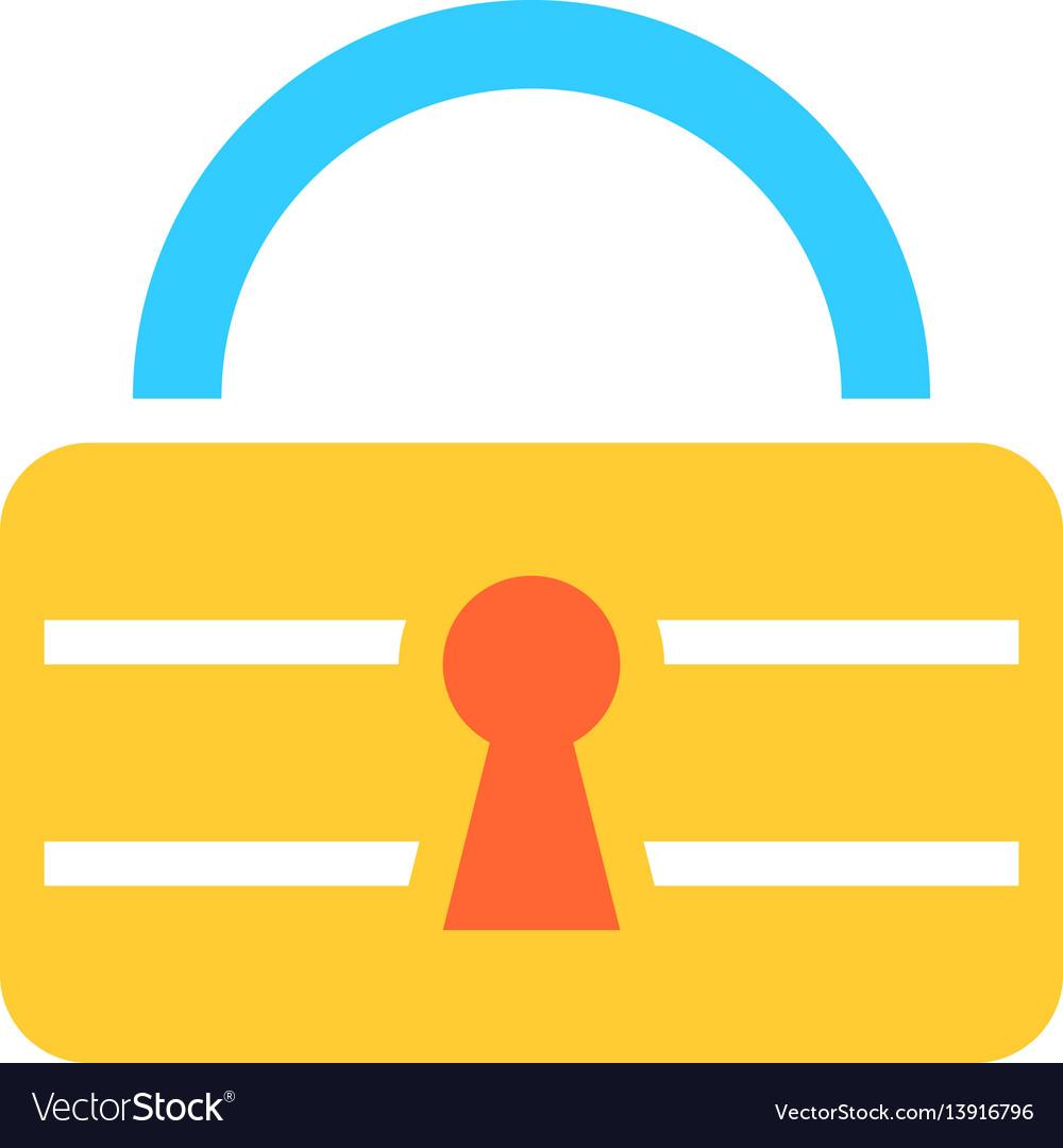 Flat padlock icon lock sign password button