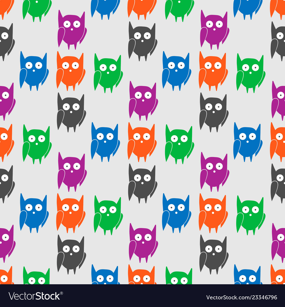Flat seamless pattern with colorful funny owls
