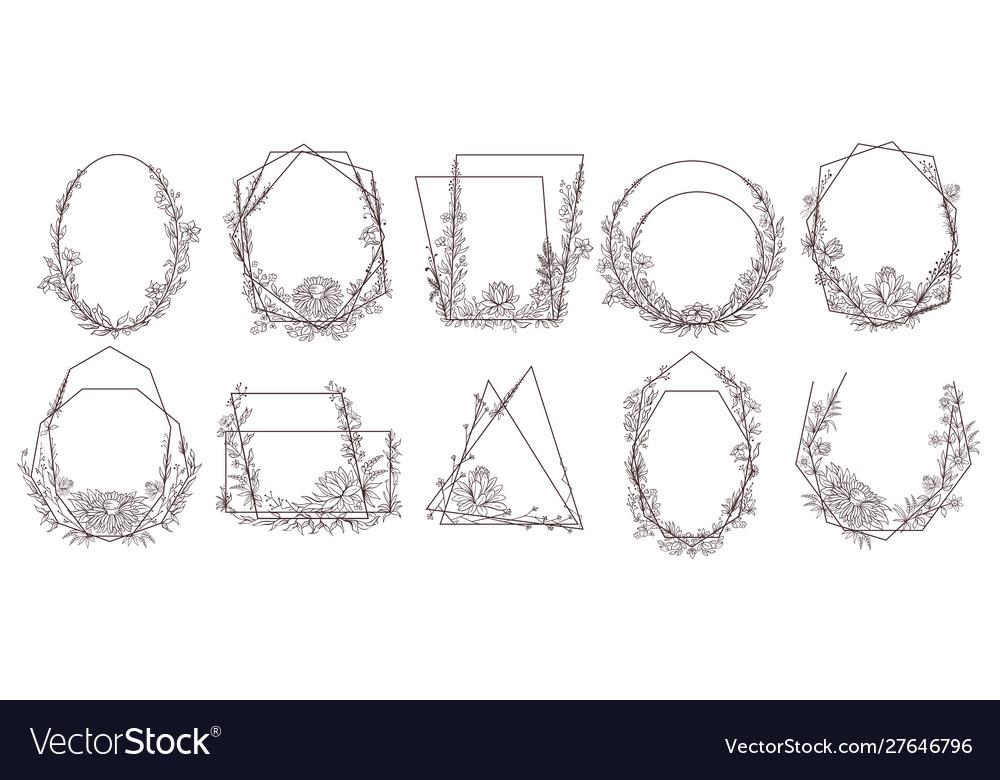 Hand drawn floral geometric frames flower leaves