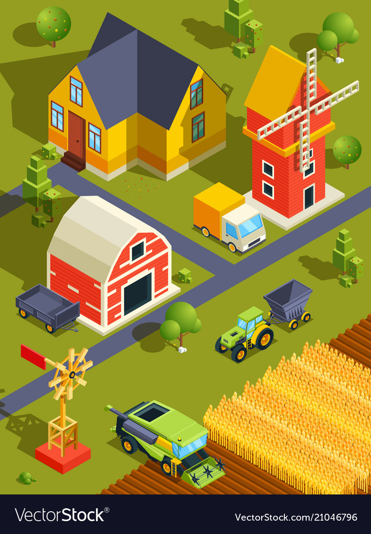 Isometric landscape of village or farm with
