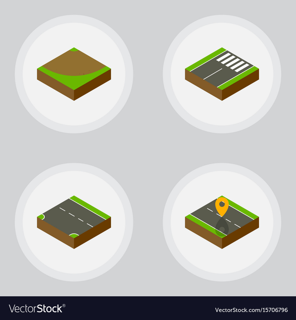 Isometric way set of downward footer navigation vector image