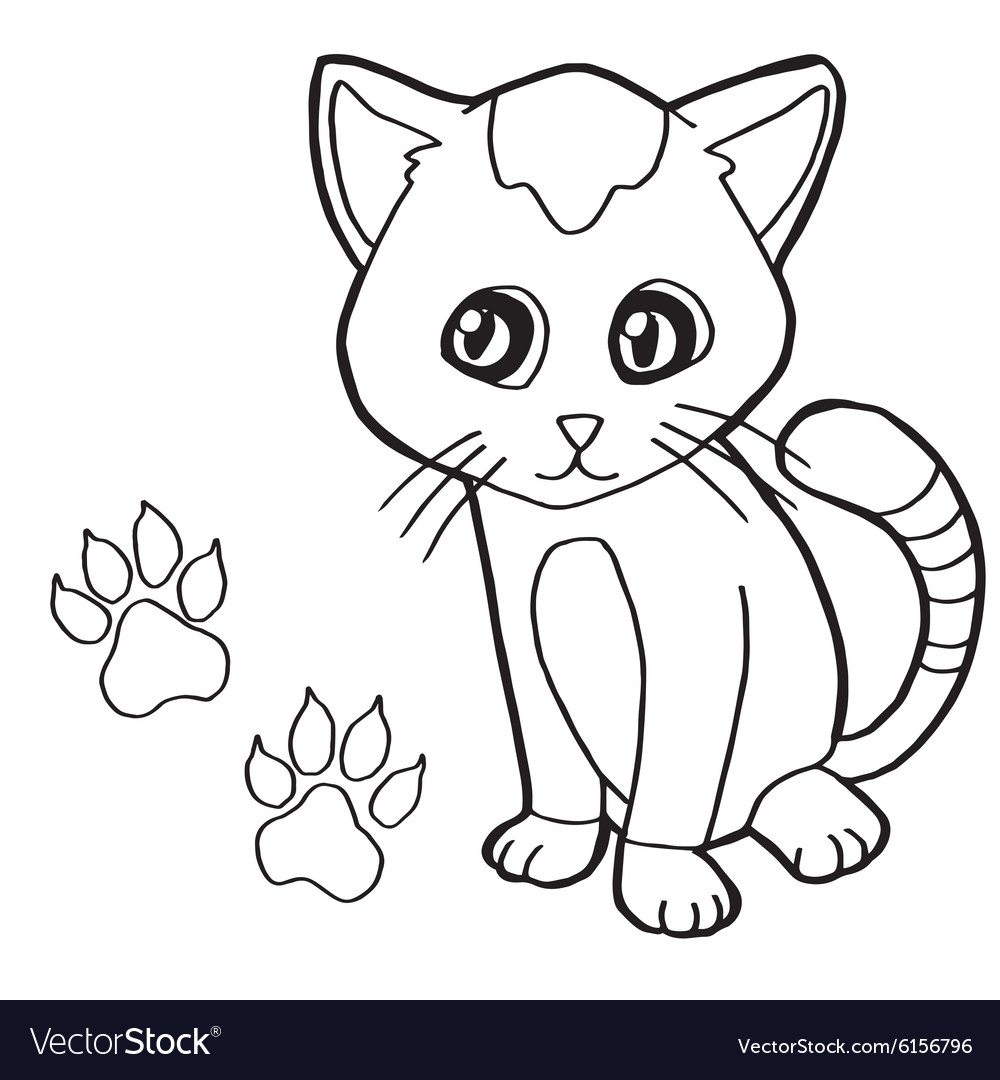 Paw print with cat Coloring Page