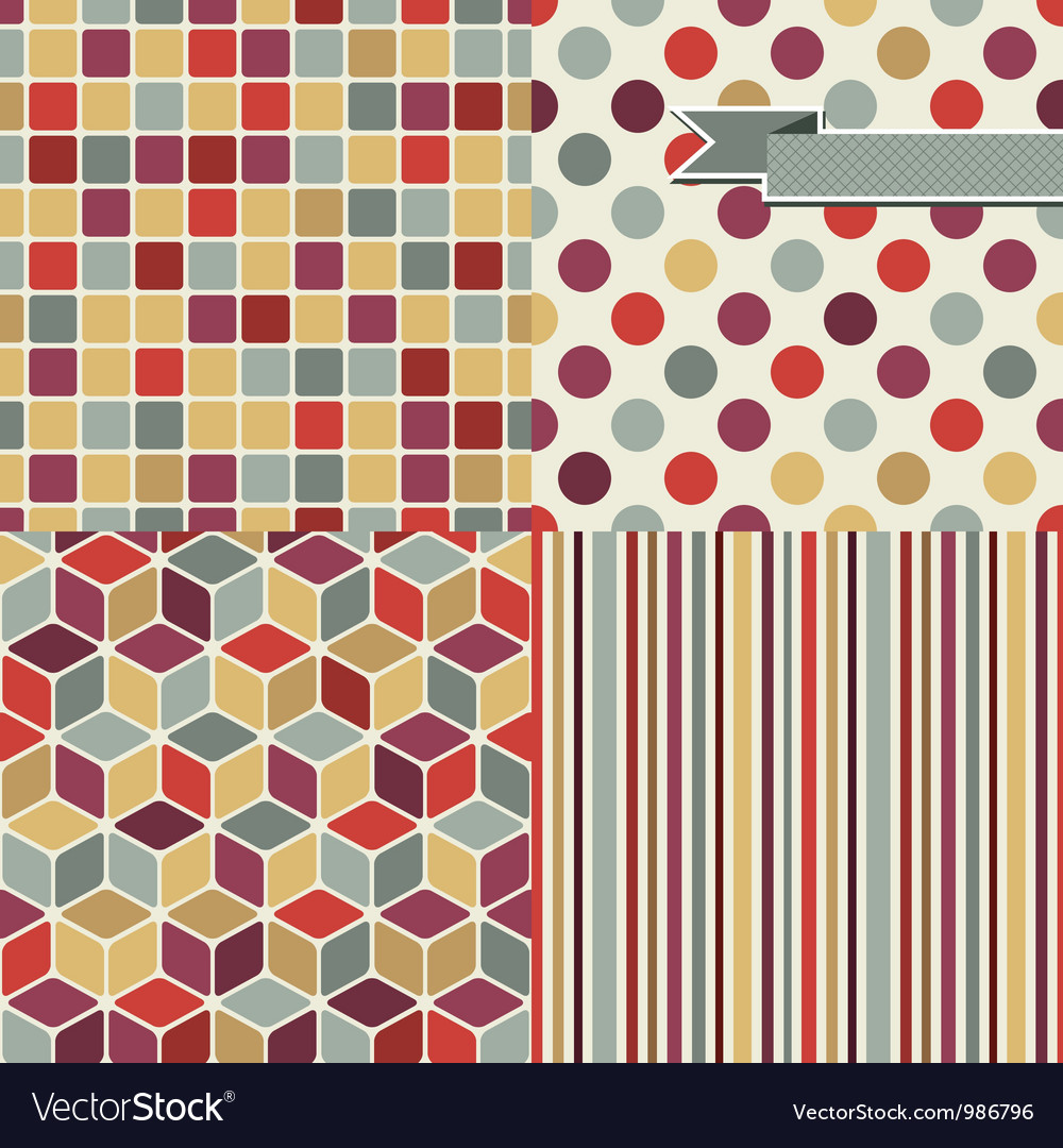 Retro Seamless Pattern Set vector image