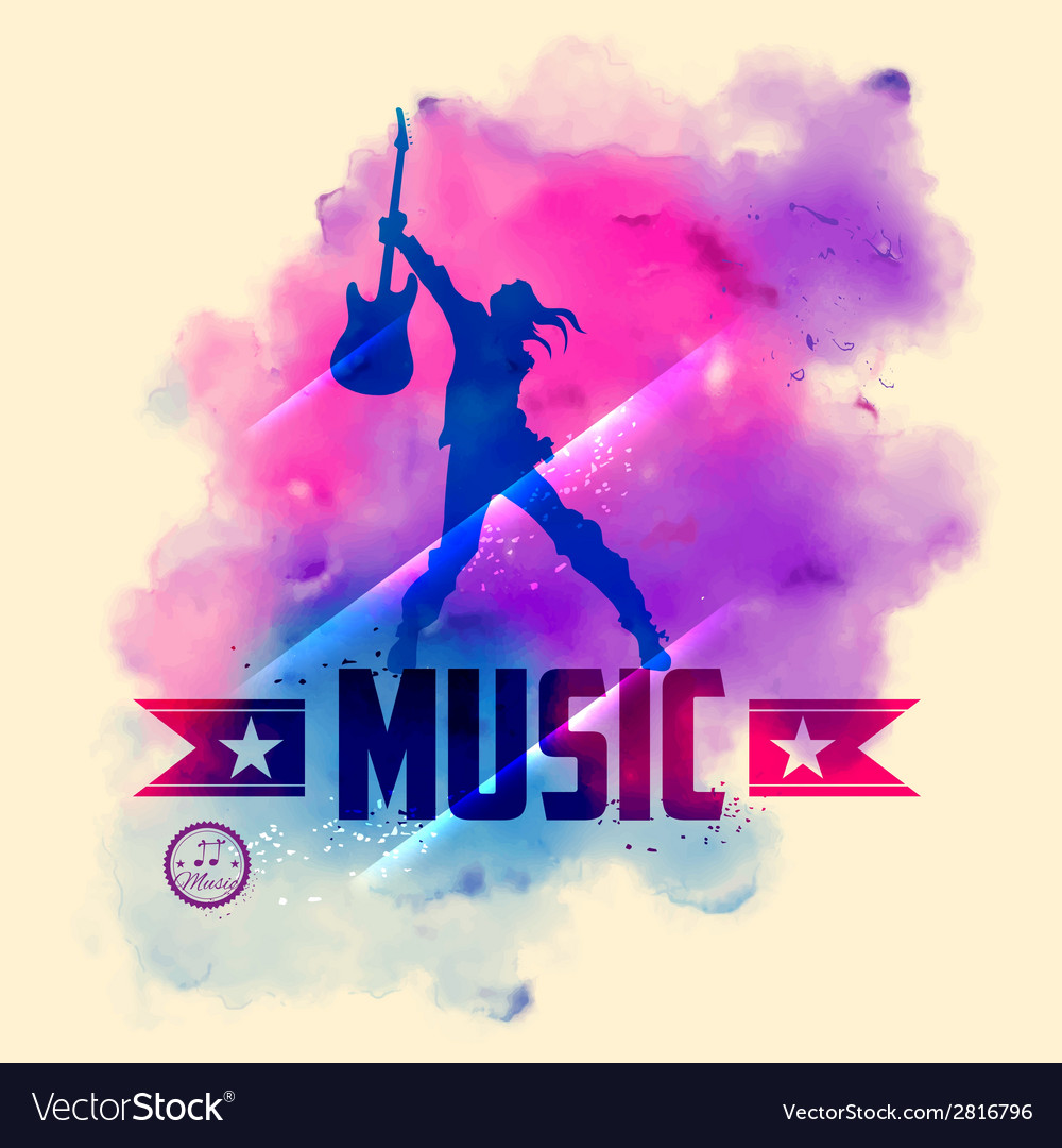 Rock star with guitar for musical background