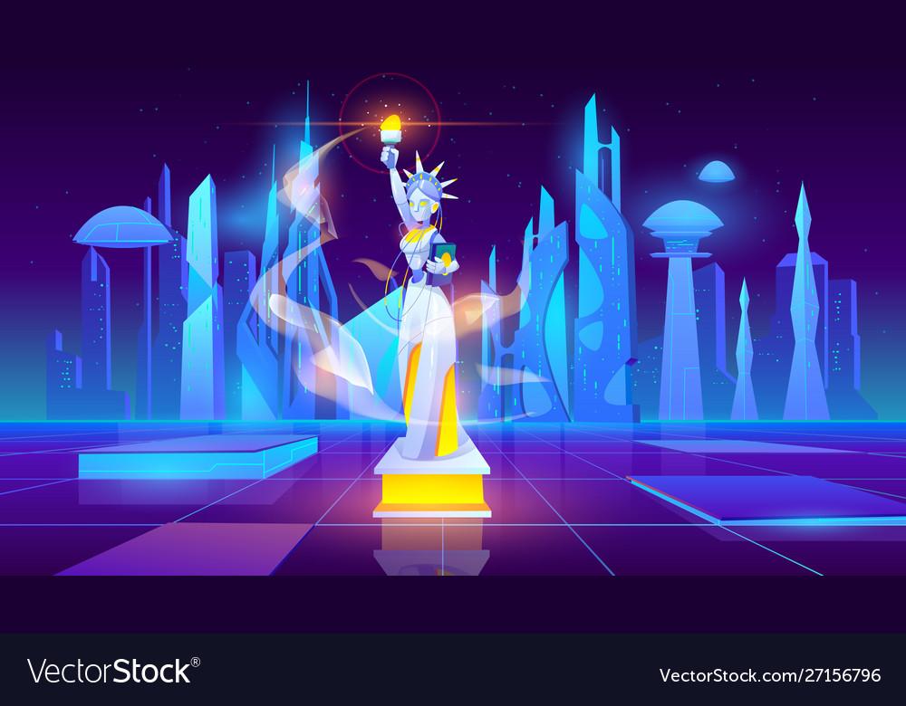 Statue liberty neon city futuristic background