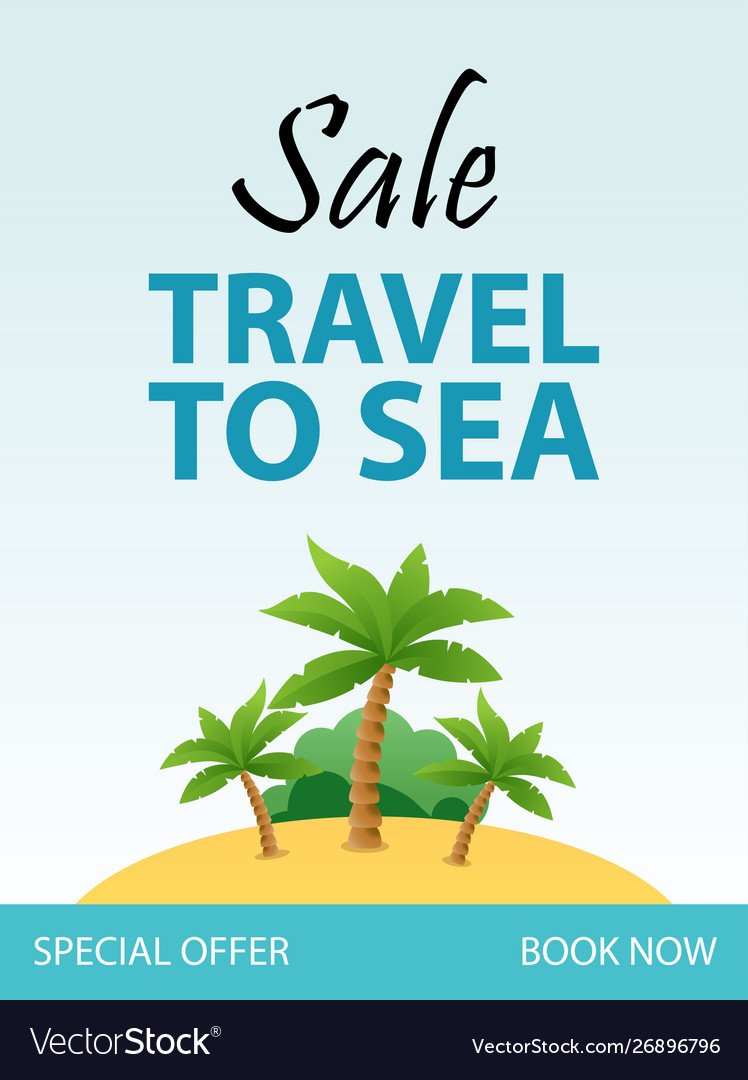 Travel to sea tropical vacation flyer template