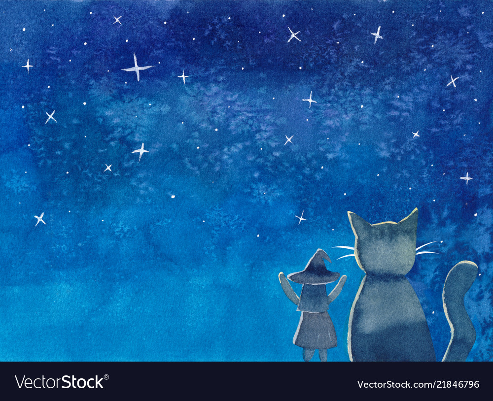 Witch and cat under blue galaxy night sky