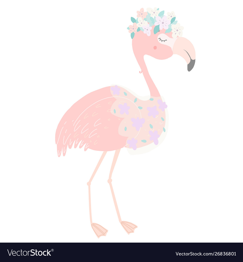 Cute pink flamingo with flower veil and flower