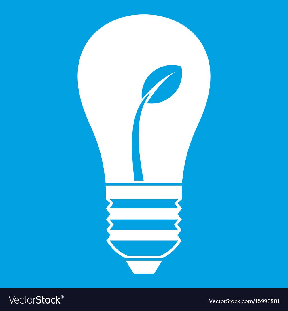 Ecology idea bulb with plant icon white