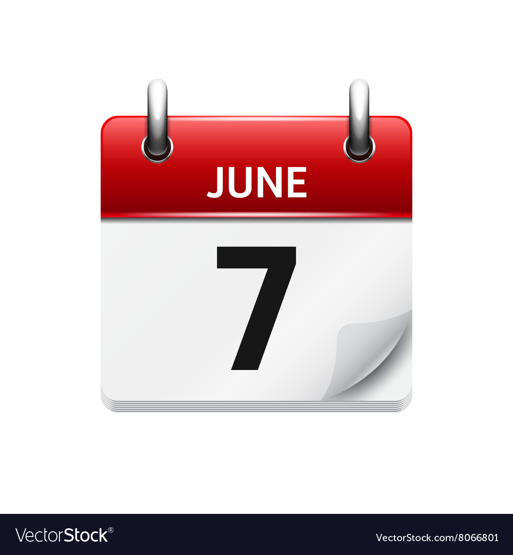 June 7 flat daily calendar icon Date and