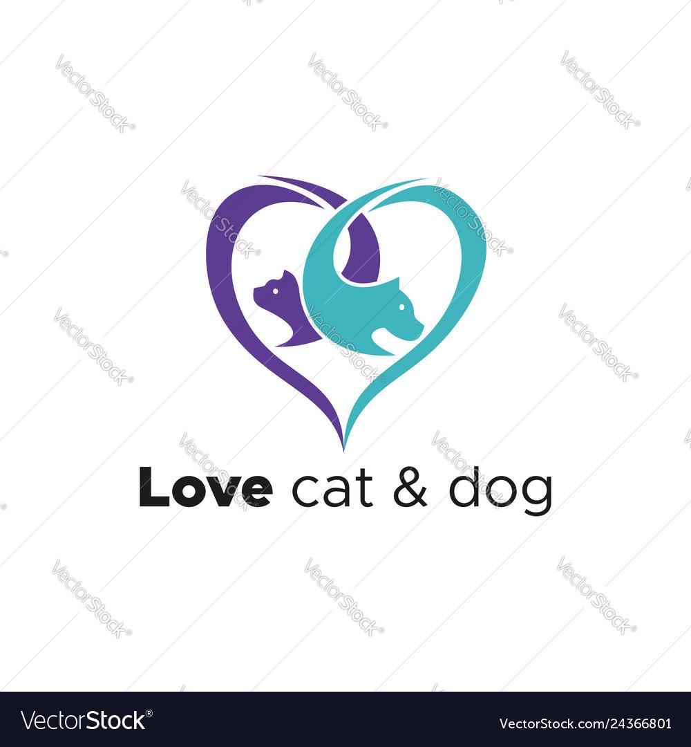 Love cat and dog logo
