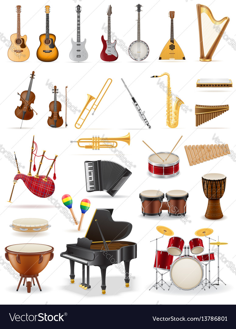 Musical instruments set icons stock