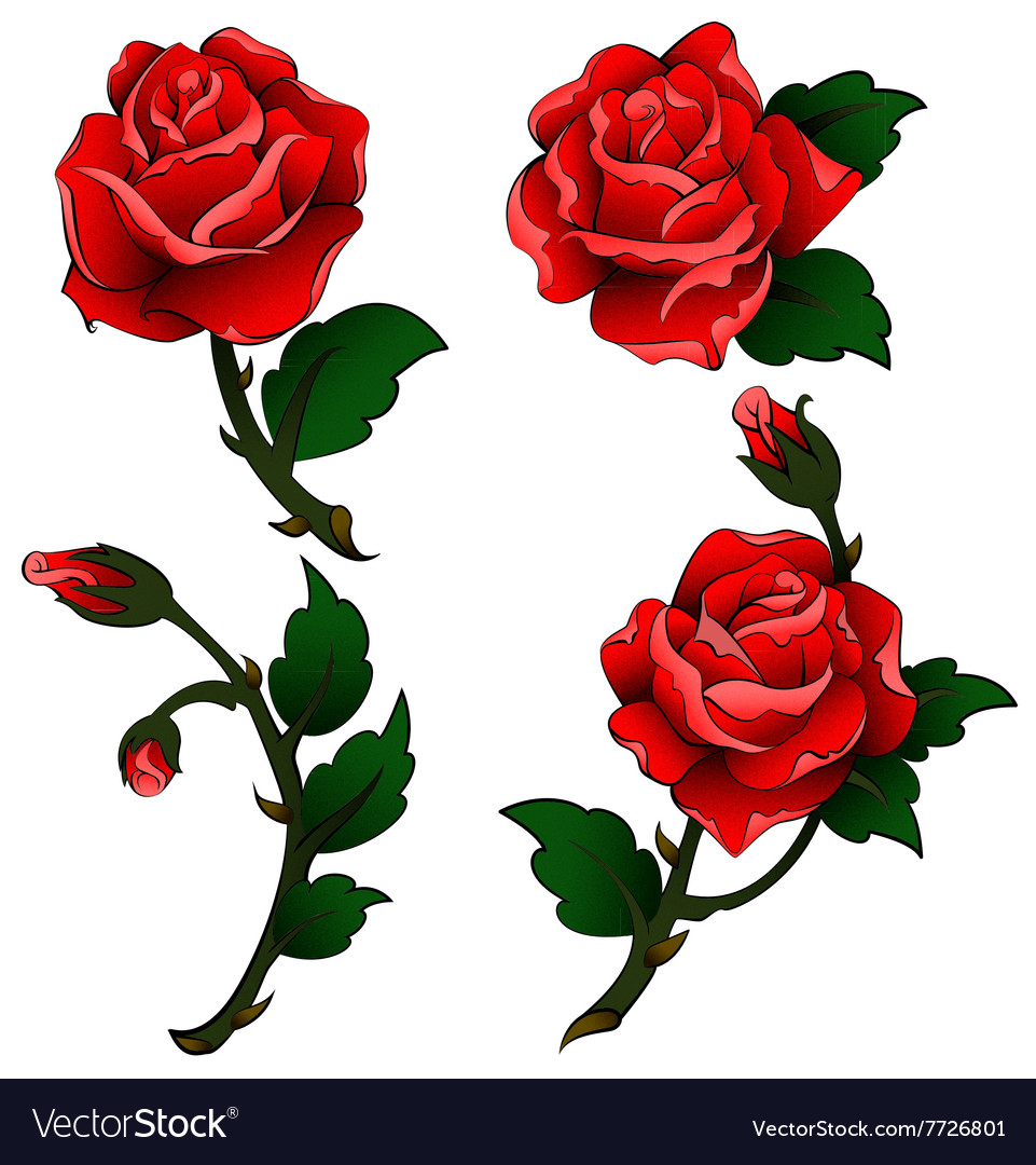 Oldschool Tattoo Roses Royalty Free Vector Image