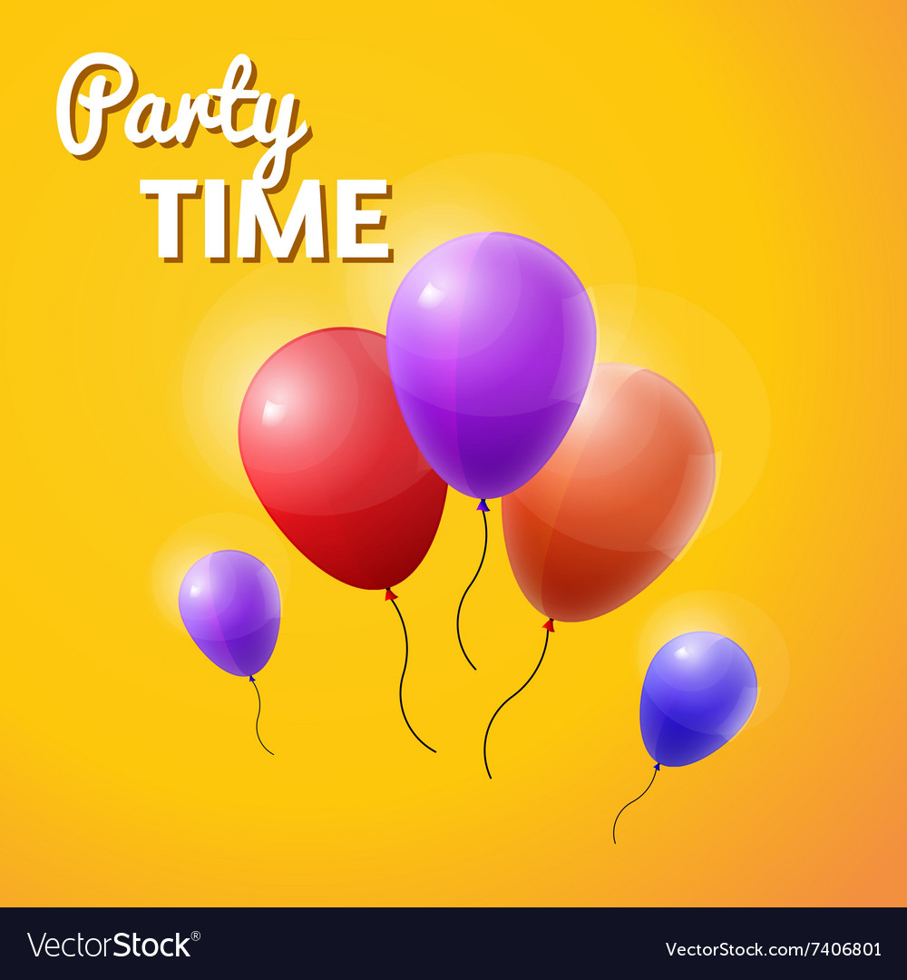 Party time inscription with balloons