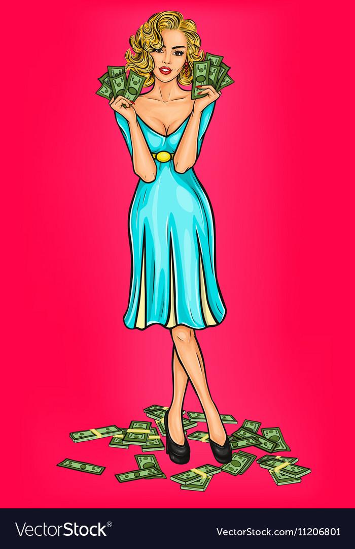 Pop art girl with cash vector image