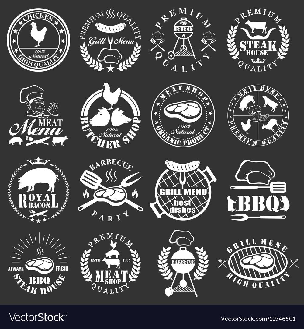 Set of butcher shop labels
