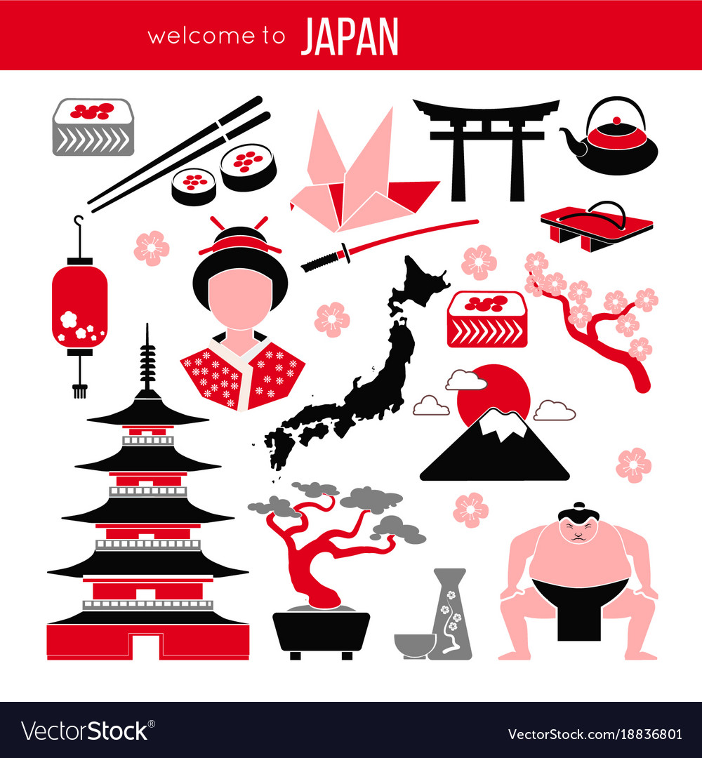 Set Of Japan Tokyo And East Culture Symbols Vector Image