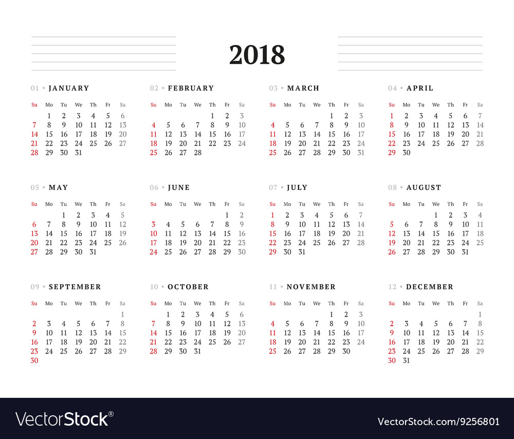 Simple Calendar Template For 2018 Year Stationery Vector Image