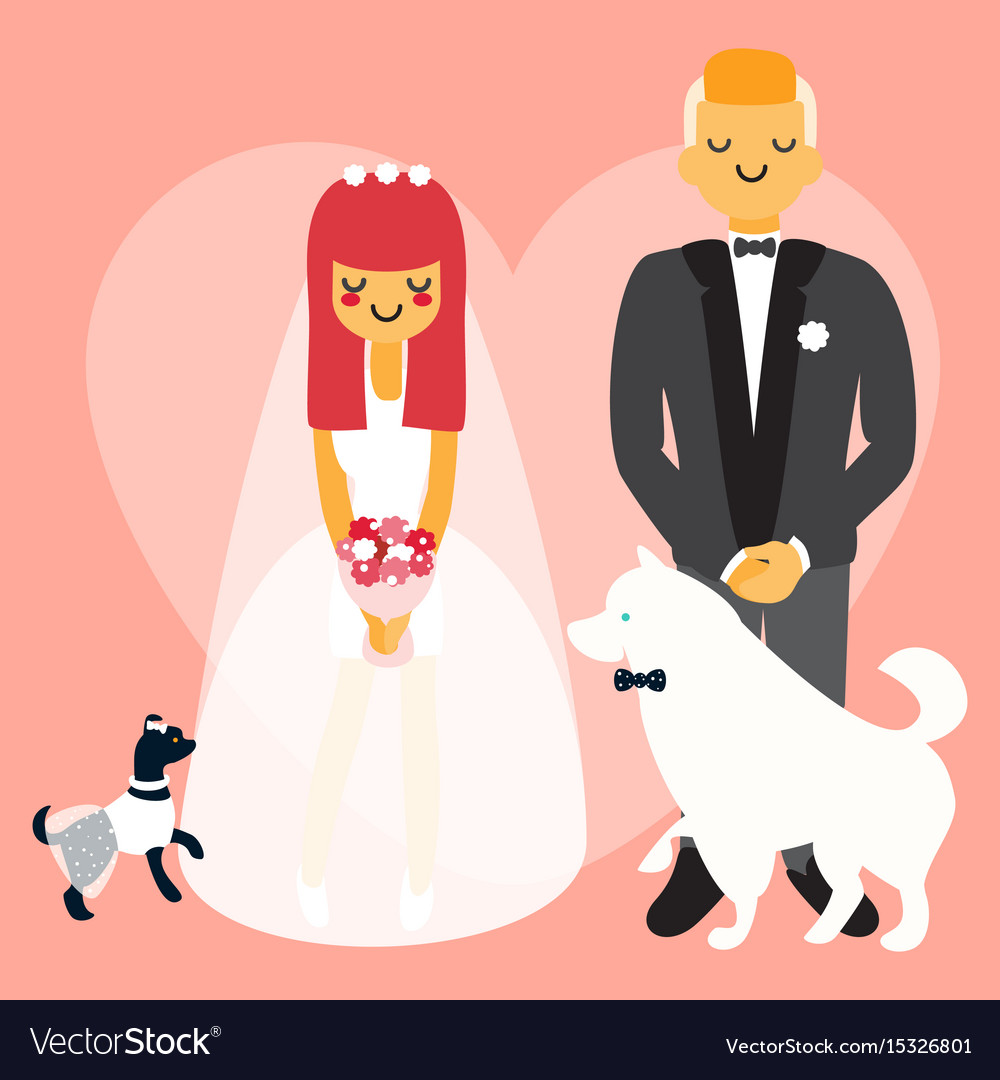 Wedding couple with dogs cartoon people