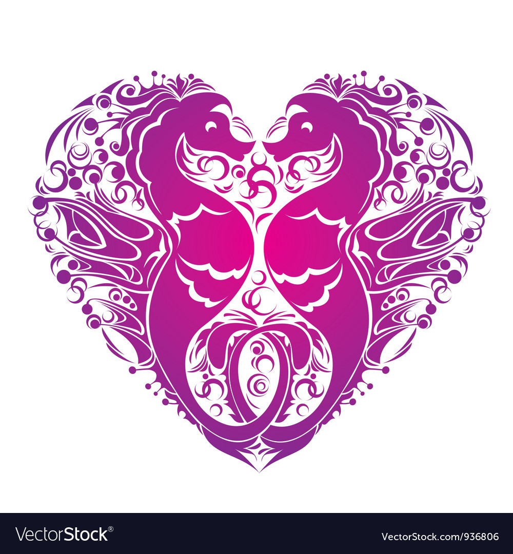 A heart is made of Couple of seahorses
