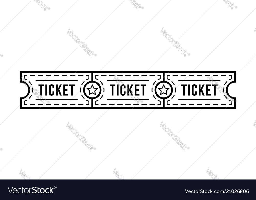 Black thin line tickets strip with star