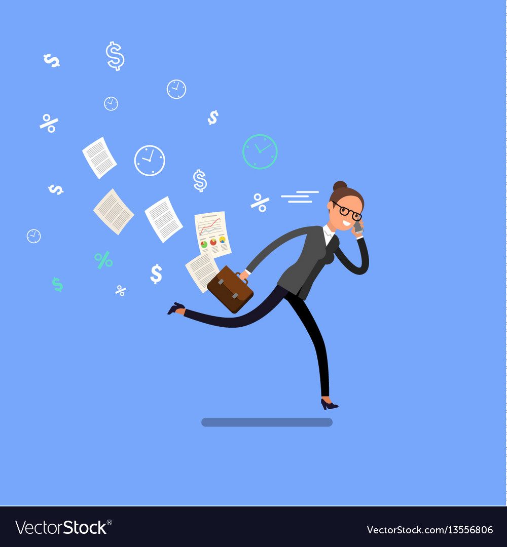 Business woman running and hurry up vector image