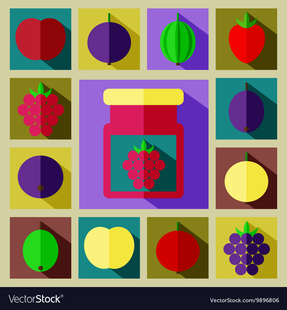 Color set of different kinds of berries with