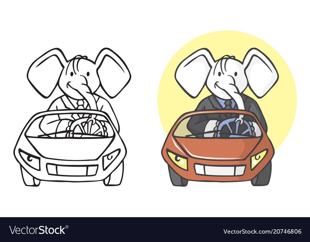 Elephant businessman on car vector image