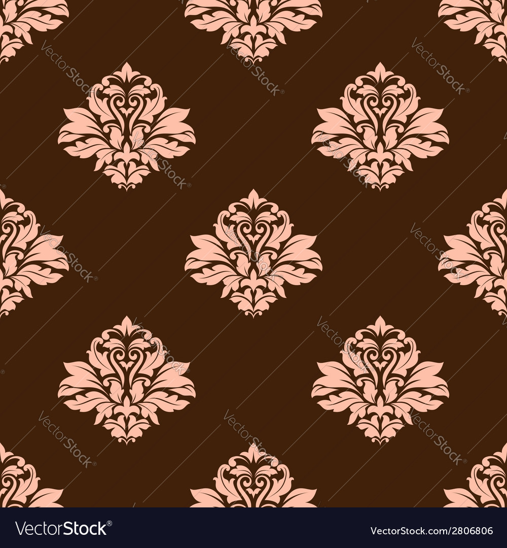 Floral beige damask seamless pattern vector image