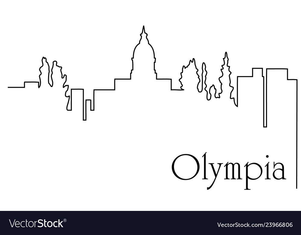 Olympia city one line drawing