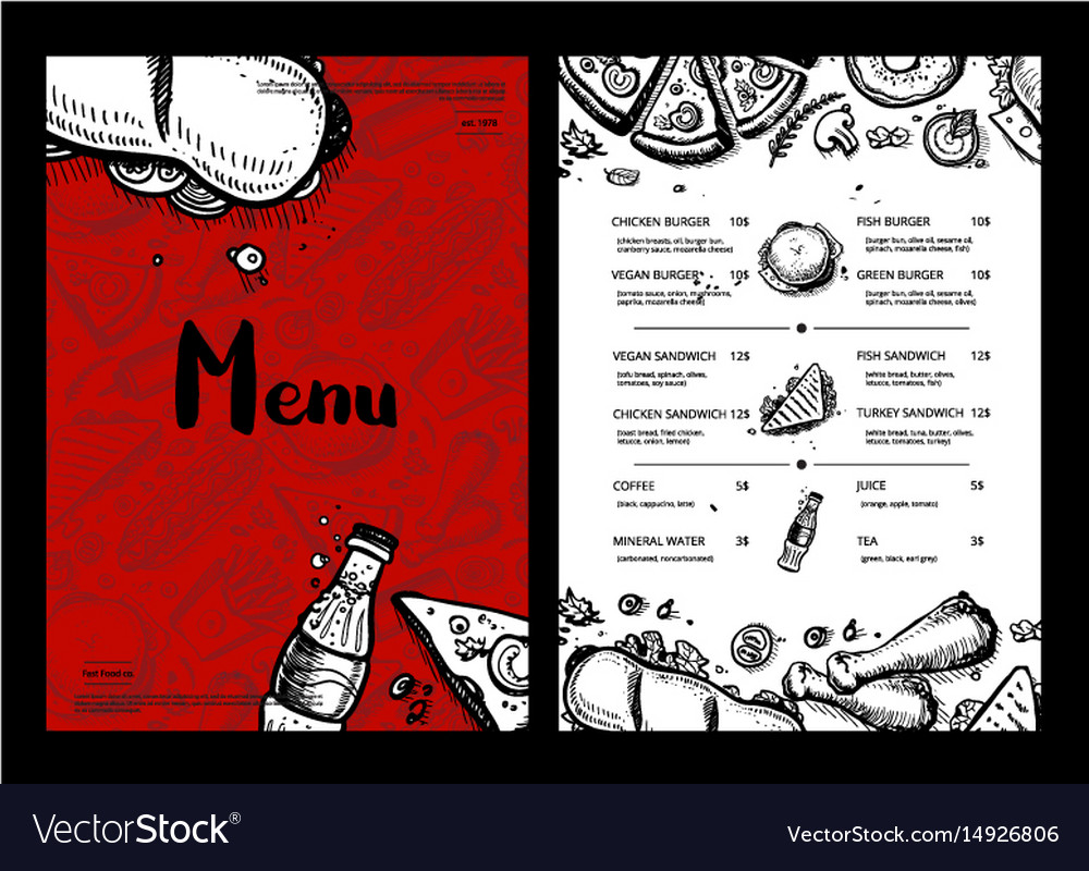 Restaurant fast food menu with prices