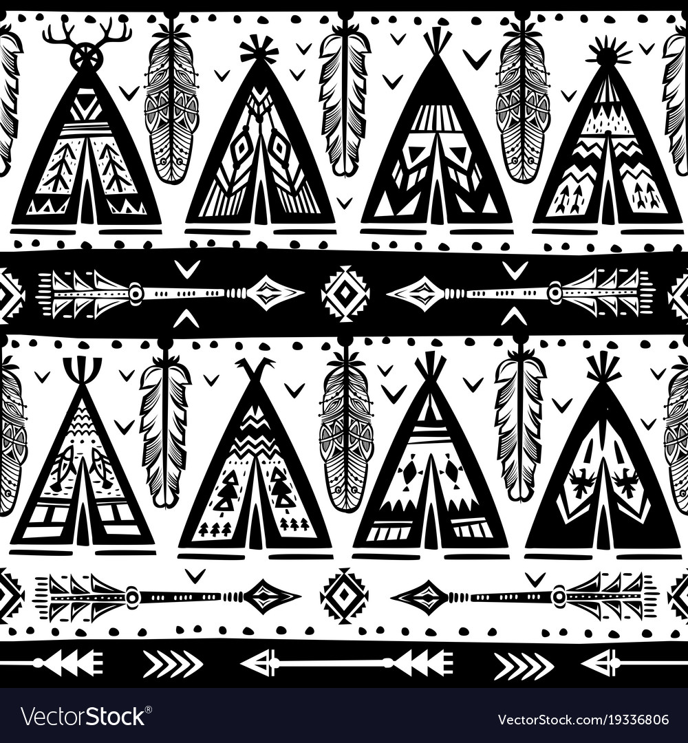 Seamless with wigwams arrows and feathers