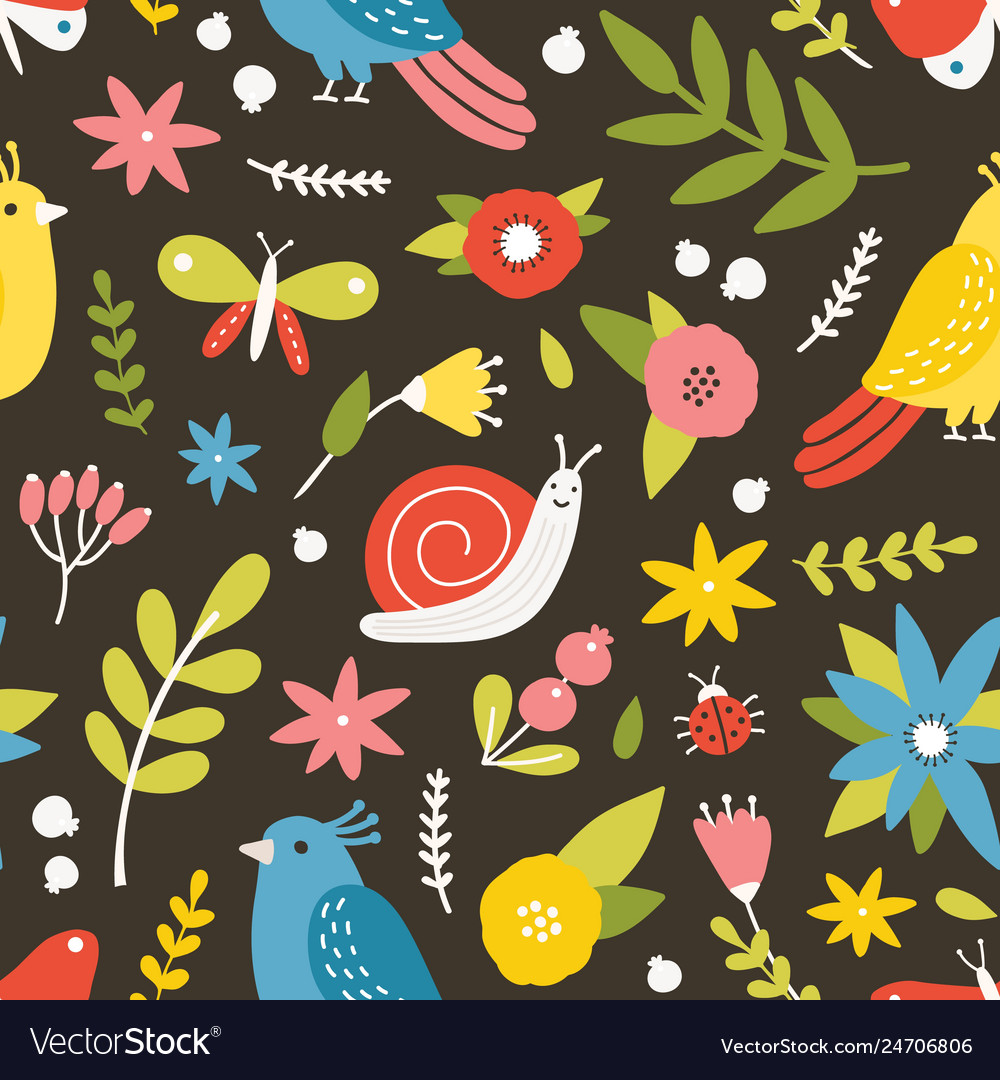 Seasonal seamless pattern with blooming meadow vector