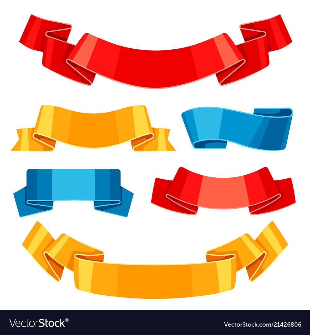 Set colored ribbons and banners