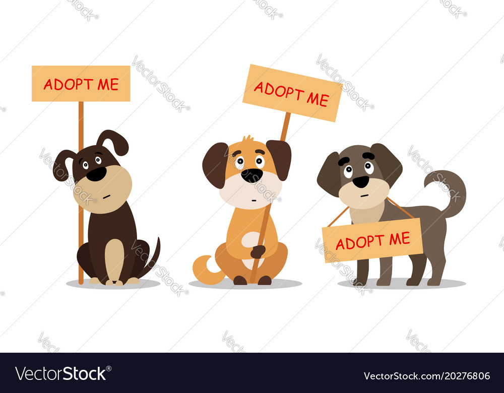 Set of sitting and standing dogs with a poster