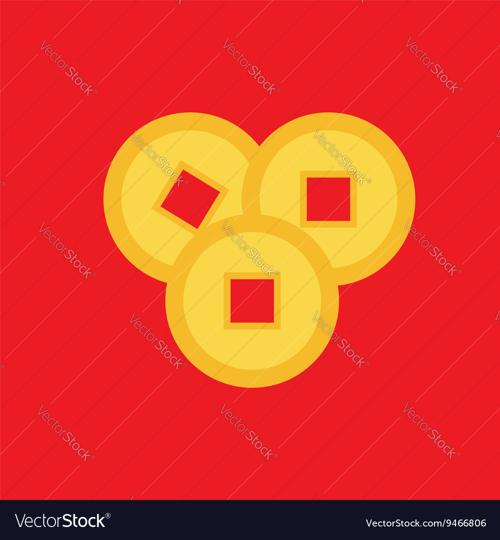 Three Feng Shui Chinese Coin Set China Gold Money Vector Image