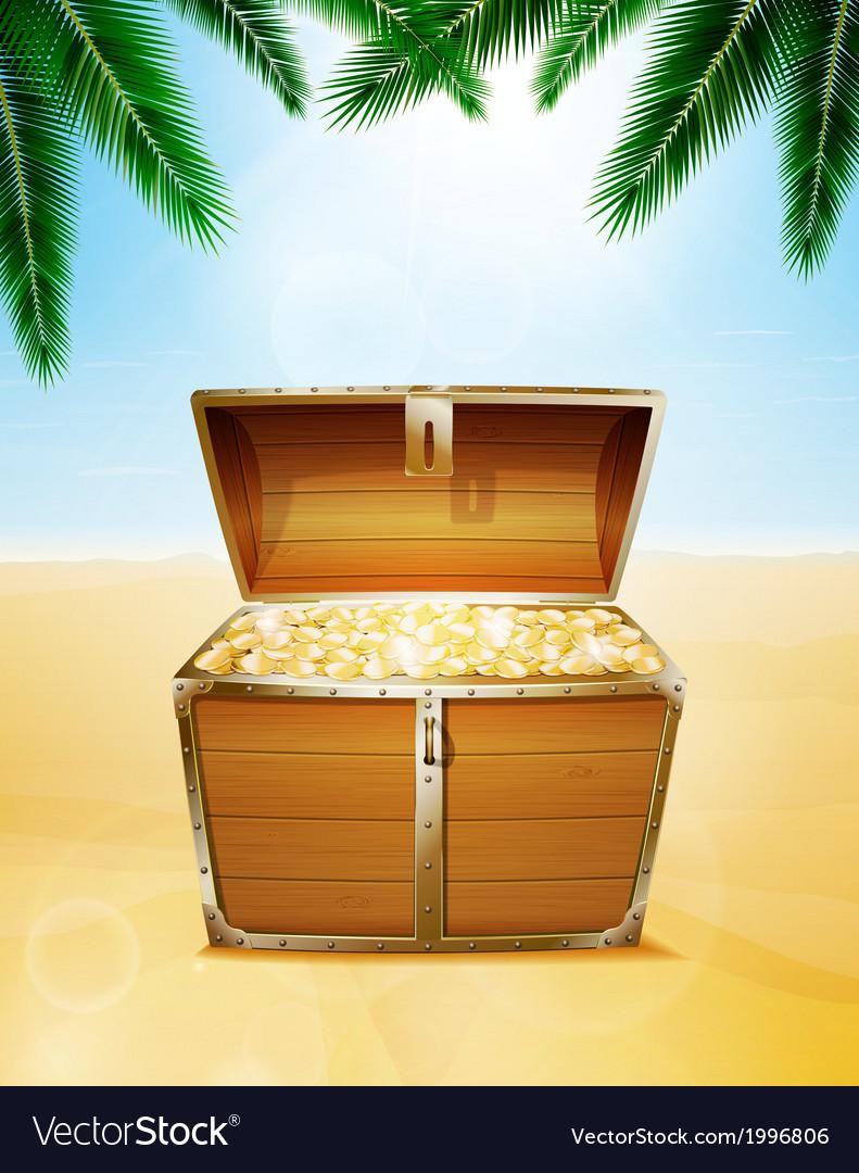 Treasure chest on a tropical beach