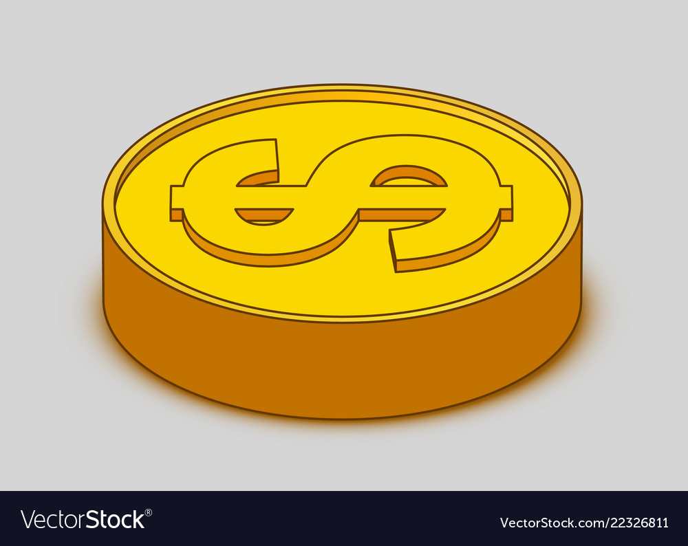 3d cartoon gold coin icon us dollar money
