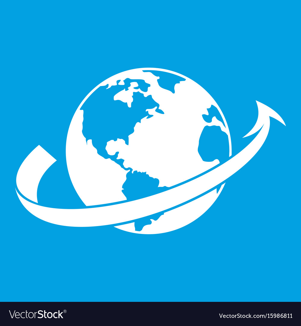 Airplane fly around the planet icon white