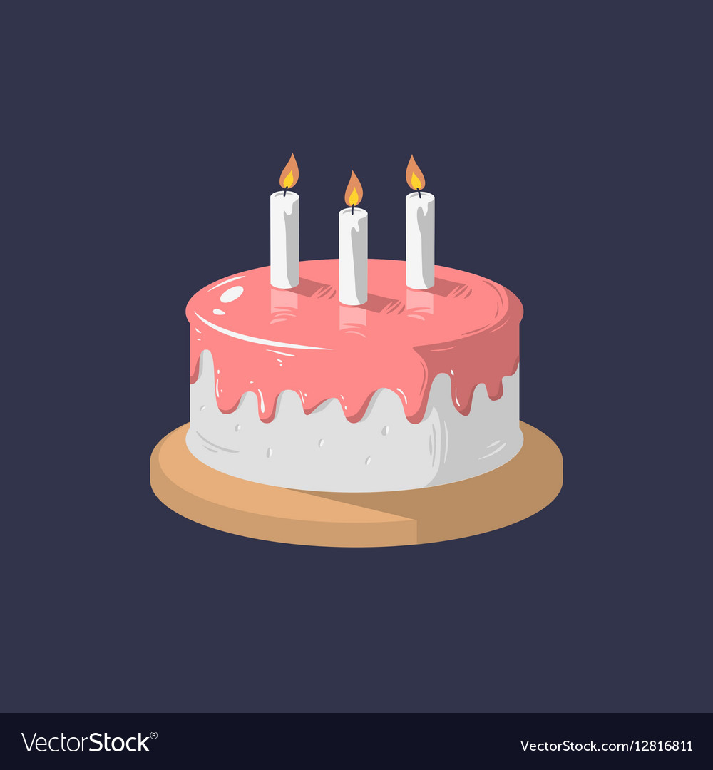 Birthday Cake With Candles.Birthday Cake Icon With Candles Graphi