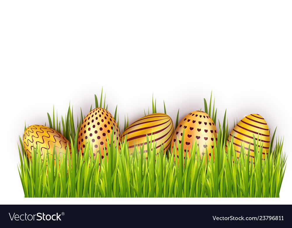Border from golden decorated easter eggs in fresh