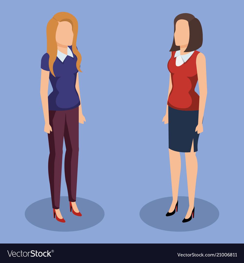 Business women isometric avatars