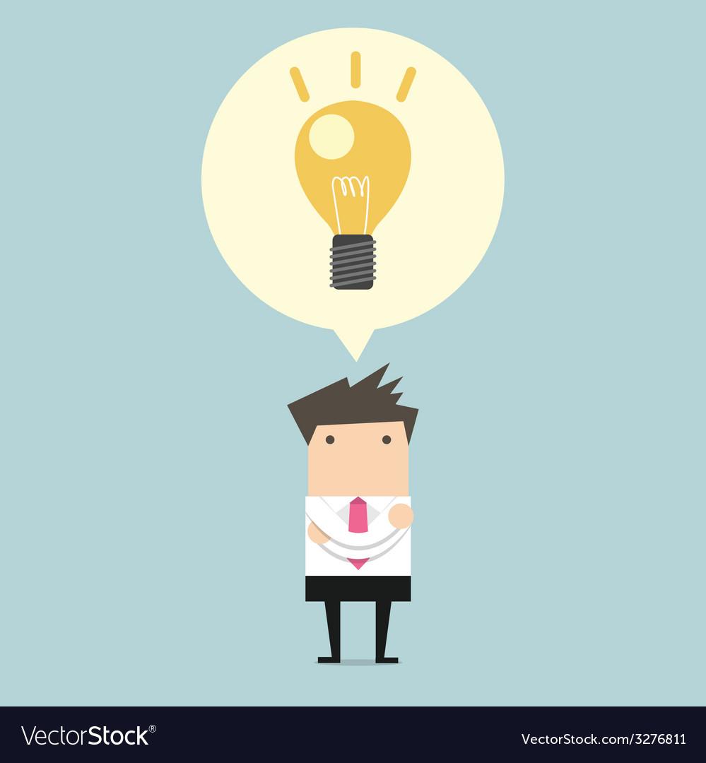 Creative businessman get the idea under a lightbul