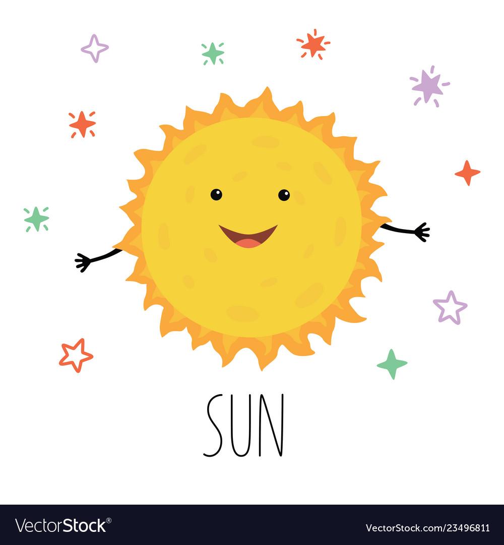 Cute sun for children on