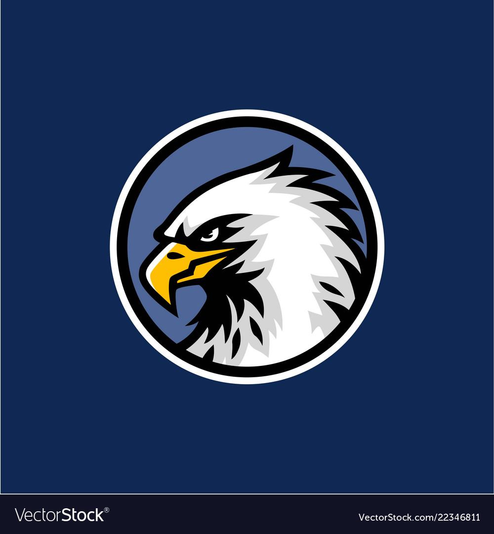 Eagle head with blue background logo design