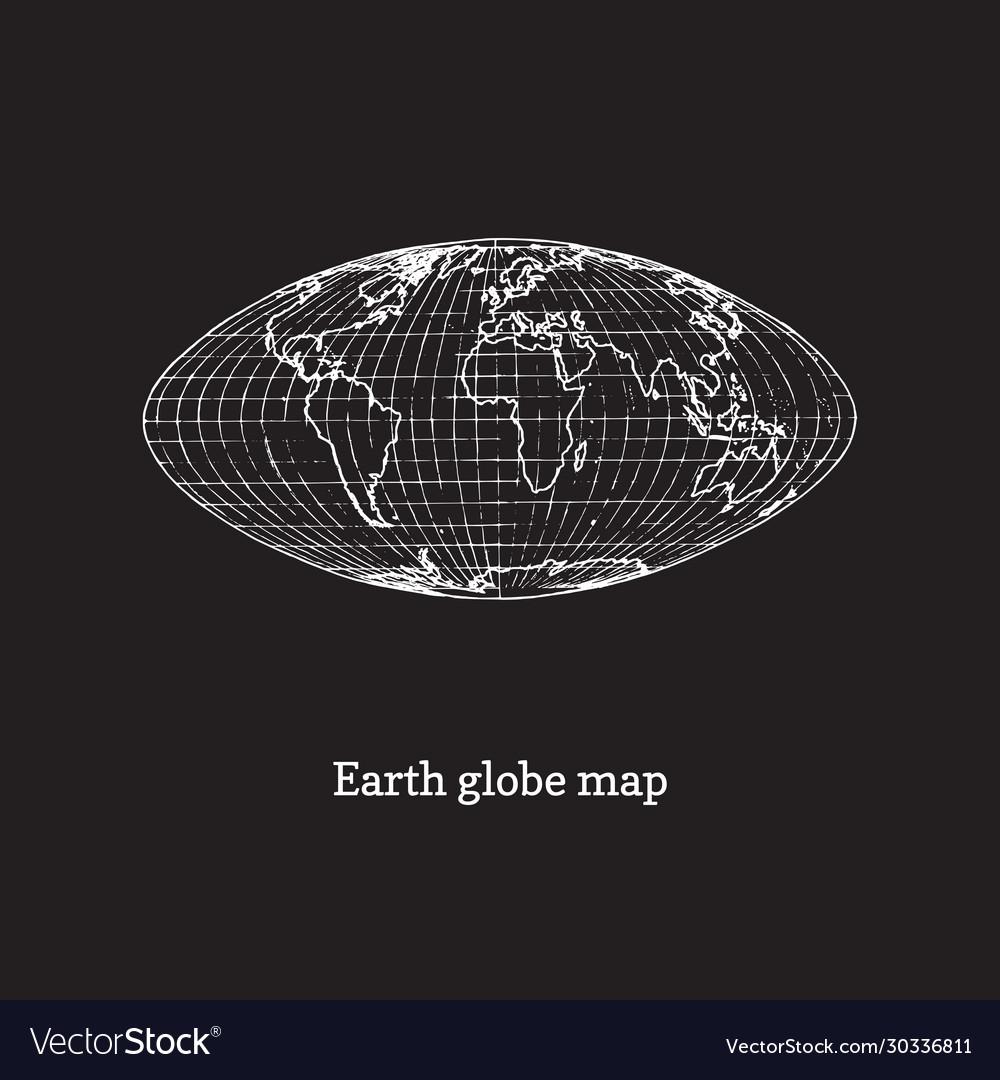 Earth globe map on black background