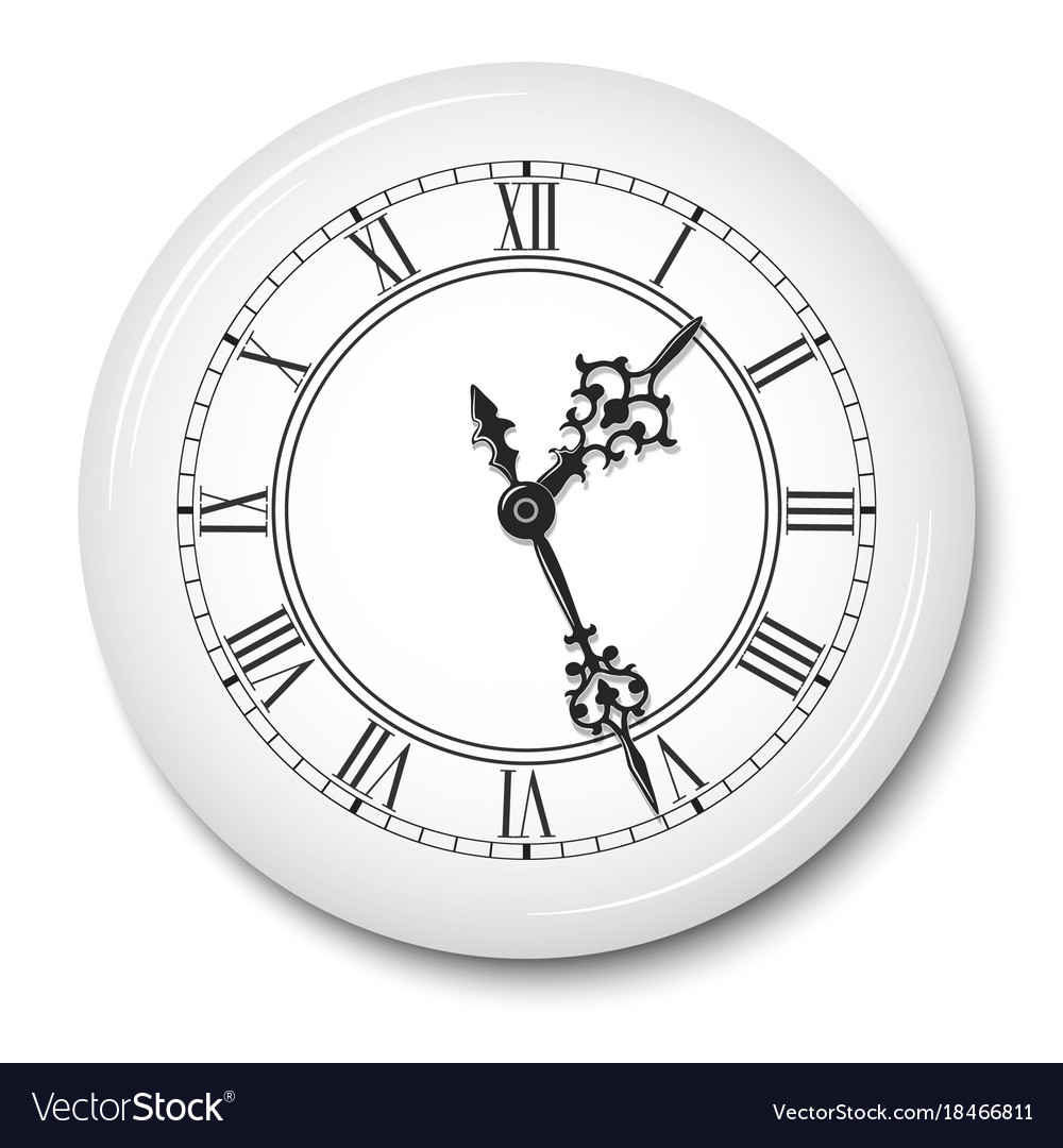 Elegant Wall Clock With Roman Numerals In White