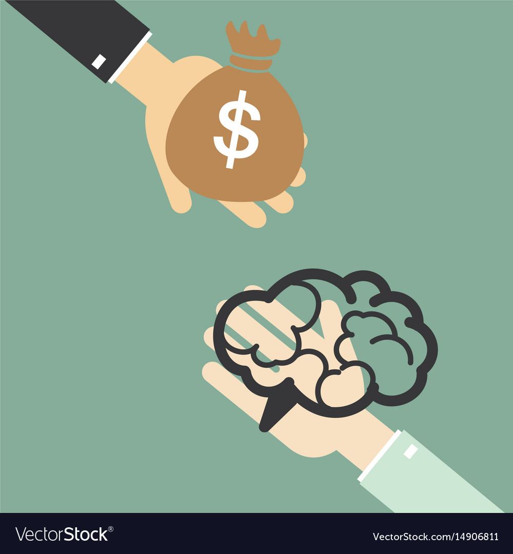 Hand of businessman to change the brain to money vector image